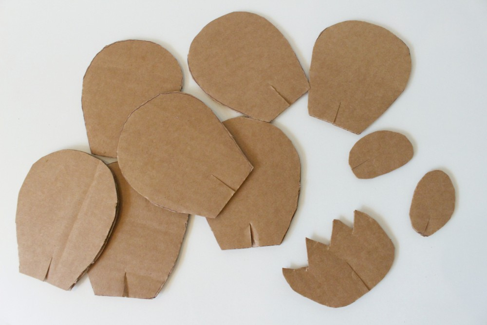 cut out cardboard pieces