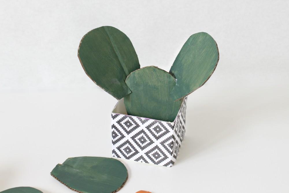 building a cardboard cactus sculpture