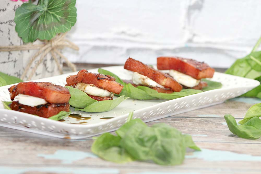 grilled watermelon salad with mozzarella and spinach