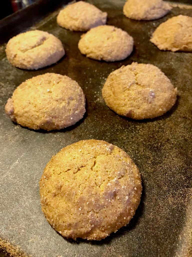 pumpkin spice cookies on a baking tray